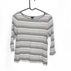 Talbots Petites Striped 3/4 Sleeve Casual T Shirt